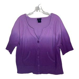 Torrid Plus Size Short Sleeve Button Front Sweater Purple Ombre Cropped Size 2X